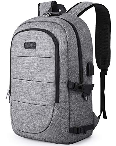 AMBOR Travel Laptop Backpack, 17.3 Inch Anti Theft Business Backpack with USB Charging Port and Headphone Interface,Large Computer Backpack School Daypack Backpack for Women and Men-Grey