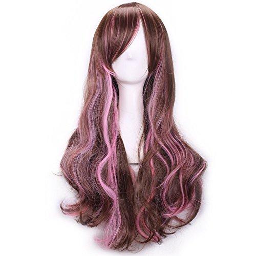 TINYUNICORN Sexy Big Wave Inclined Bang Wig Long Curly Brown Hair Mixed Color Highlights Fluffy Air (King Neptune Wig)