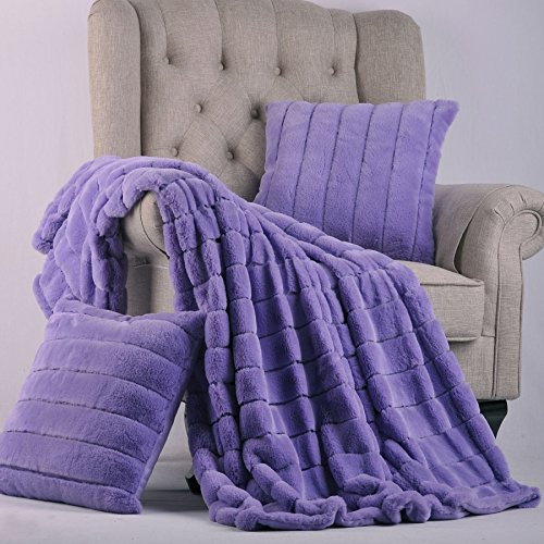 Home Soft Things BOON Rabbit Fur Throw with 2 Pillow Combo S
