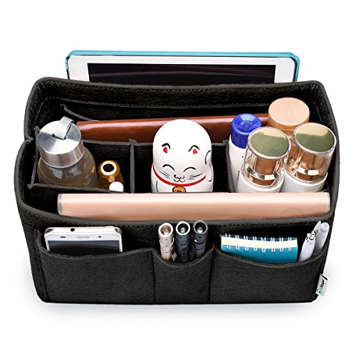 Price comparison product image Hokeeper Felt Purse Insert Organizer,  Handbag Organizer,  Bag in Bag for Handbag Purse Tote,  Diaper Bag Organizer,  Stand on Its Own, 10 Compartments,  4 Sizes,  6 Colors (Medium,  Black)