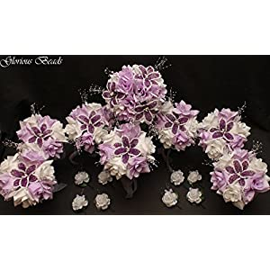 Wedding Flower Bouquet Set Lavender Lilac Purple BEADED Lily 16 PC Set with FREE Boutonnieres, Perfect for Quincenarea 5