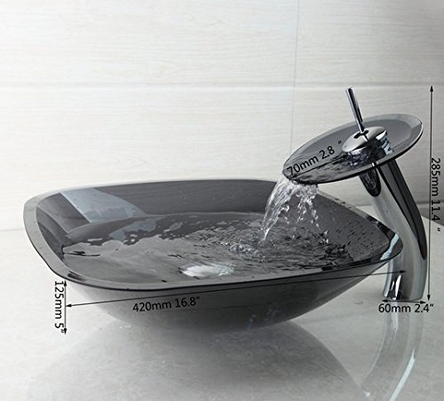 GOWE Luxury Washbasin Lavatory Tempered Glass Sink Basin +Waterfall Faucet+Pop Up Drain Combine Brass Mixer Taps 2