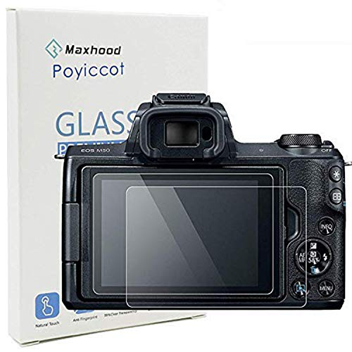 Poyiccot(2-Pack) for Canon EOS M50 Tempered Glass Screen Protector, Optical 9H Hardness 0.3mm Ultra-Thin DSLR Camera Glass Canon EOS M50 (Transparency Film 500)