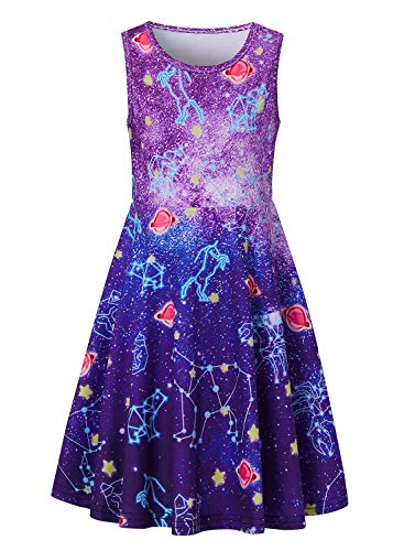 uideazone Cute Dresses for Girls 3D Printed Colorful Universe Sleeveless Dress Little Girl's Soft Swing A-line Skirt for Party Wedding]()