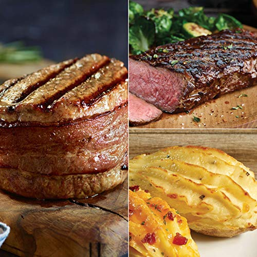 The Family Gathering - 4 (6 oz) Super Trimmed Filet Mignon with Hickory Bacon, 4 (10 oz) Kansas City Strip Steaks and 8 (5 oz) Twice Baked Potatoes with Sour Chream, Cheddar and Chive ()