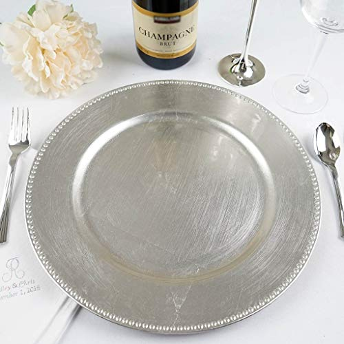 Efavormart 24 pcs 13'' Silver Round Charger Plates Dinner Chargers for Tabletop Decor Holiday Wedding Catering Event Decoration by Efavormart.com (Image #2)