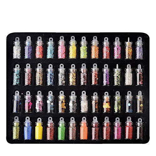 - LEERYAAY Nail Care Art For Beauty48 Glass Bottles Of Nail Polish Glitter And Sequins48Pcs/set 3D Decoration Stamping