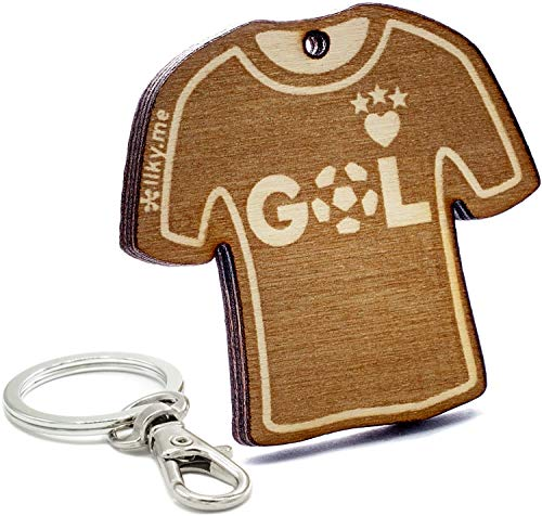 LIKY® Fútbol GOL Camiseta - Llavero Original de Madera ...