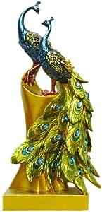 Healifty Peacock Figurine Statue Resin Bird Sculpture Craft Desktop Ornaments for Home Office Decor Wedding New Year Gift