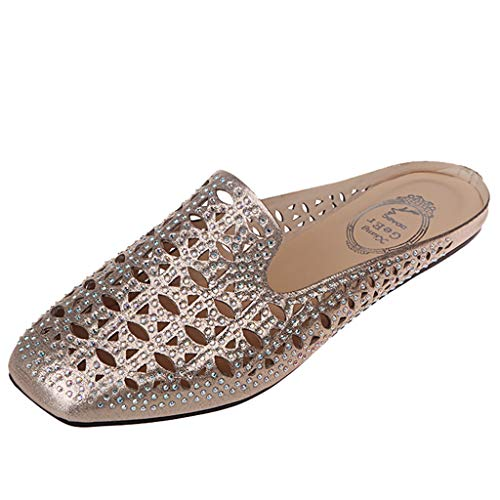 Slip On Loafers for Women,ONLY TOP Womens Flat Slides Sandals Backless Slip On Loafers Diamond Mule Slippers Shoes Gold