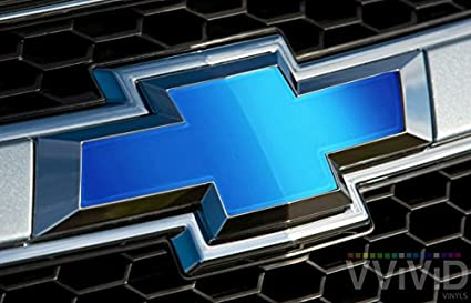"""VVIVID Blue Matte Metallic Auto Emblem Vinyl Wrap Overlay Cut-Your-Own  Decal for Chevy Bowtie Grill, Rear Logo DIY Easy to Install 11 80"""" x 4"""""""