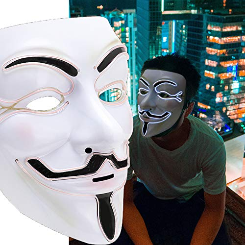 Scary Mask Halloween Light Up Mask EL Wire V for Vendetta Cosplay Led Costume Mask Fawkes Anonymous for Festival -