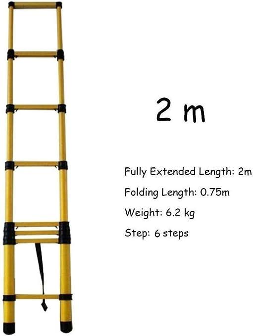 lHishop Las Mejores Escaleras Telescópicas Escaleras Extensibles con Ganchos Escalera Loft Plegable Telescópica Mantenimiento De Edificios Multiusos,2m: Amazon.es: Hogar