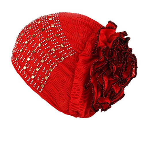 bestpriceam Women's Winter Hat Lace Butterfly Decorate Beanie Caps Lady Skullies Turban Cap (Red 1) ()
