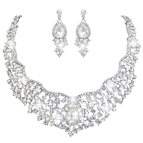 [EVER FAITH Women's Austrian Crystal Flower Cluster Teardrop Necklace Earrings Set Clear Silver-Tone] (Necklaces And Earrings)