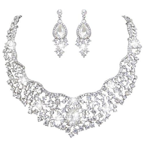EVER FAITH® Bridal Cluster Flower Teardrop Clear Austrian Crystal Necklace Earrings - Clear Crystal Drop Necklace