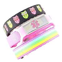 3 Pack Kid's Medical Alert Bracelets   Children's Medical ID Bracelets   Free Engraving   Adjustable   Value Pack (3 Bracelets)
