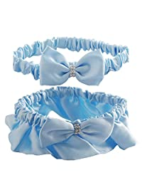 Baby Blue Satin Wedding Garter Set for Bride
