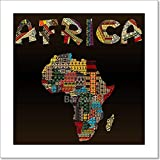 Africa Map With African Typography Made Of Patchwork Fabric Texture Paper Print Wall Art Gallery Wrapped Canvas Art (6in. x 6in.)
