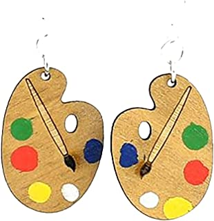 """product image for Laser Cut """"Painter's Palette"""" Earrings Made From Sustainably Harvested Wood"""