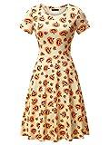 FENSACE Womens Short Sleeves Casual A-Line Halloween Pumpkin Dress,Medium, 17038-5