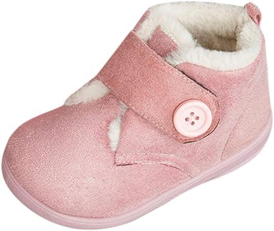 FBGood - Zapatos de algodón para niños - Botón de Color Liso bebé Invierno para niños y Zapatos de Deporte cálidos ...