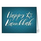 24 Note Cards - Hanukkah Chevrons - Blank Cards - Cobalt Blue Envelopes Included