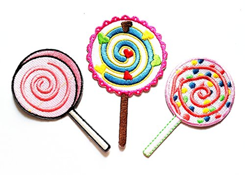 Nipitshop Patches Set 3 Pcs Colorful Fancy Sweet Lollipop Fantasy Lollipop Candy Embroidered Iron on Applique Patches for Clothes Backpacks T-Shirt Jeans Hat -