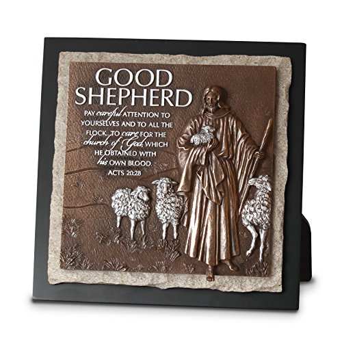 (Lighthouse Christian Products Moments of Faith Good Shepherd Small Sculpture Plaque, 7 1/2 x 7 1/2