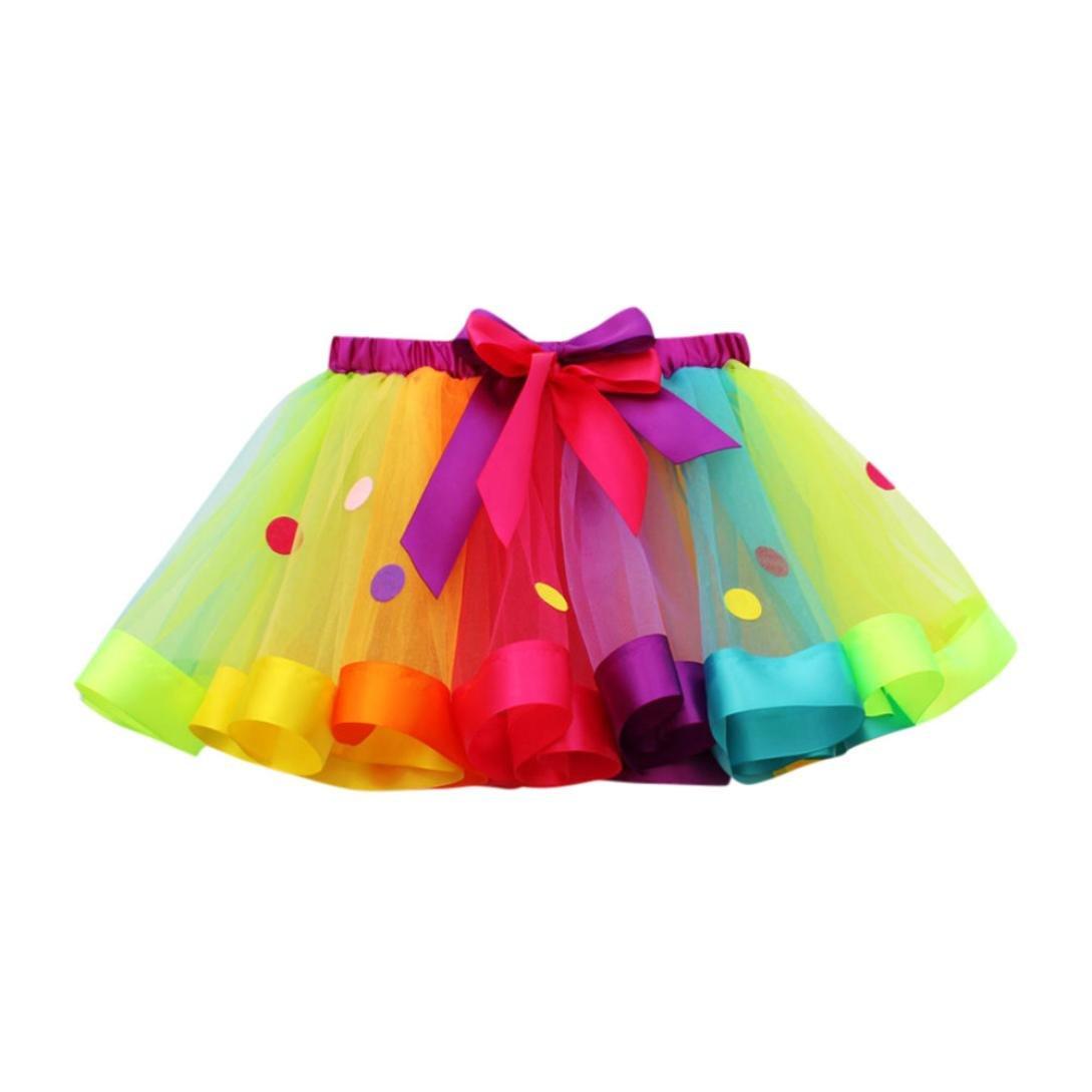 LuckyGirls Bebé Niñas Verano Vestidos Fiesta Partido Color del Arco Iris Lunares Tul Tutú Princesa Faldas (4~10 Años)