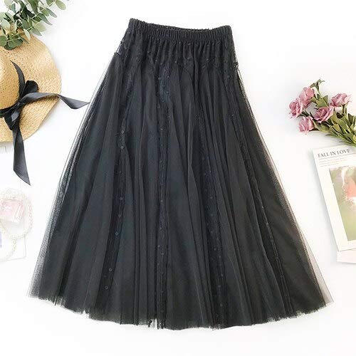 Black WHFDBZQ Dot Embroidery Tulle Skirt Women Spring Summer Fashion Elegant High Waist Sun School Pleated Skirt Female