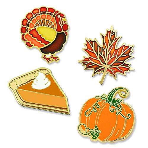 PinMart Thanksgiving Pumpkin Pie Fall Autumn Leaf & Turkey Holiday Lapel Pin (Fall Brooch Pin)