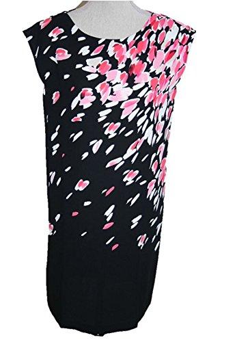 ann-taylor-loft-pullover-sleeveless-printed-dress-small-black-pink-white-berry-tan
