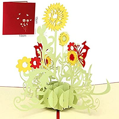 Loyocgo Thank You 3D Pop Up Greeting Card Flower Gift To Friends Family Mom Creative Birthday Child Handmade Happy Anniversary Cards For Wife