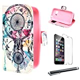 Dreamcatcher Painting Art Style Protection Premium PU Leather Shell Folio [Wallet Magnetic] Button Flip [ Case Cover ] Skin for Samsung Galaxy Young 2 SM-G130 + Screen Protector + Touch Stylus