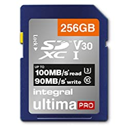 Integral 256GB SD Card 4K Ultra-HD Video Premium High Speed Memory Card SDXC Up to 100MB/s SDXC V30 UHS-I U3 Class 10 SD…