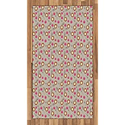 Lunarable Clock Area Rug, Colorful Watch Flower and Key Composition with Watercolor Effect and Brush Marks, Flat Woven Accent Rug for Living Room Bedroom Dining Room, 2.6 x 5 FT, Multicolor