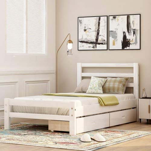Twin Platform Bed With Two Storage Drawers Baysitone Wood Bed Frame With Headboard Wood Slat Support No Box Spring Needed Easy Assembly White Twin Kitchen Dining