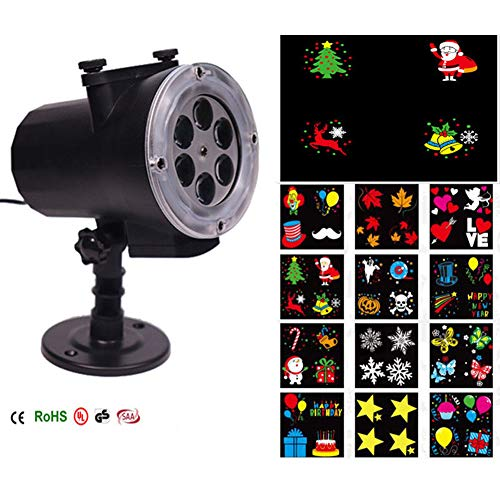 Led Christmas Lights Projector Waterproof Spotlight Landscap Lamp Bulb 12 Pattern Slide Remote Control Light for Christmas Halloween Party Festival Outdoor Indoor Garden Home Decor (UK Plug)