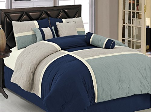 Chezmoi Collection 7-Piece Quilted Patchwork Comforter Set, King, Blue/Gray (Collection King Comforter Set)