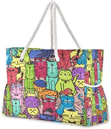 ビーチバッグ ビーチトートバッグ 落書き猫柄 プールバッグ ショッピング 軽量 旅行 アウトドア 大容量 トイレタリー 手提げバッグ ピクニック 水泳バッグ 海水浴 温泉 ポケット付き リゾート
