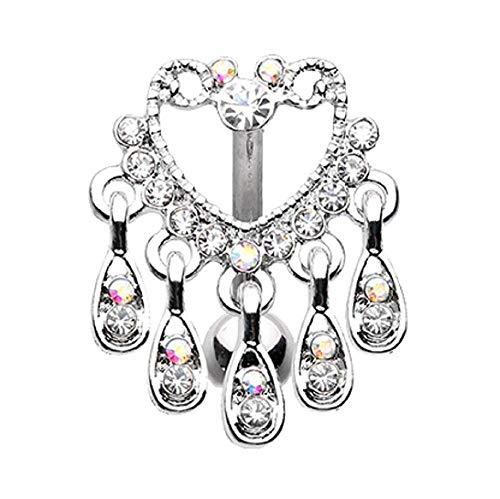 Elegant Chandelier Drop Top Down Reverse Belly Button Ring