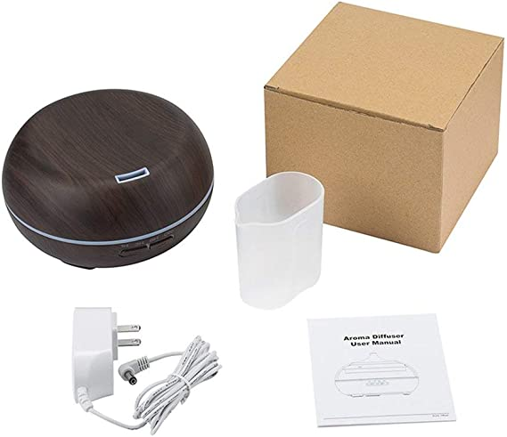 Wood Grain Design Aromatherapy Essential Oils Diffuser Altar Shape Humidifier Air Purifier Aromatherapy Machine (black US plug)