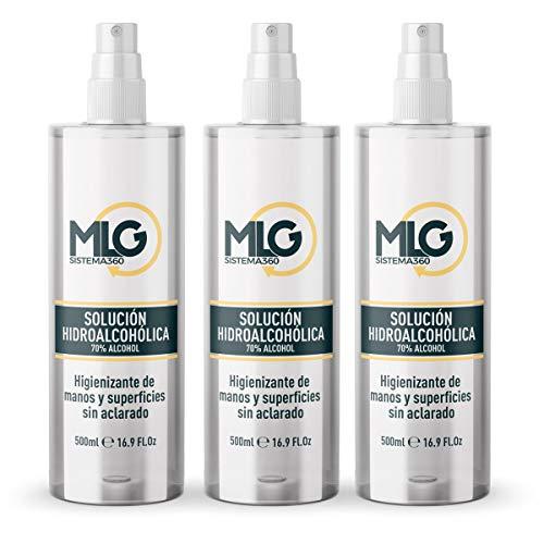 🥇 MLG SISTEMA 360 – Hidroalcohol 3 x 500ml con Spray | Ideal para una higiene profunda de manos – Hidroalcoholico Liquido envase con Aerosol