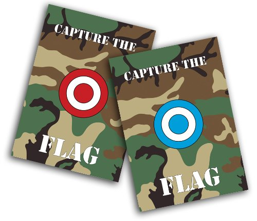 Toland Home Garden Capture The Flag 2-Pack 12.5 x 18 Inch Decorative Red Blue Camo Sports Paintball Garden Flag