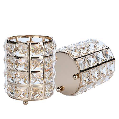 Fewear Ship from USA,Makeup Organizer, Cosmetic Storage Tube Pen Holder Crystal Candle Holder Wedding Lover Decoration,Makeup Holder Storage,Cosmetics Organizer Box (Gold) ()