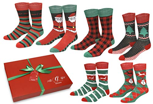 Gilbin's 6 Pairs Men's Soft Cotton Christmas Holiday Socks, Cool Casual Dress Socks, With Gift Box
