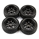 SkyQ 1/10 Scale RC On Road Car Wheels and Rubber Tyre Tires Y Spoke for HSP HPI Model Car Black Pack of 4
