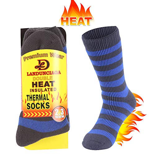 LANUDNCIAGA Men's Thick Heat Socks Trapping Insulated Heated Boot Thermal Hiking Socks Warm Winter Crew For Cold Weather Comfy Fleece Hot Socks Bed Socks Men for Boyfriend Youth,Large