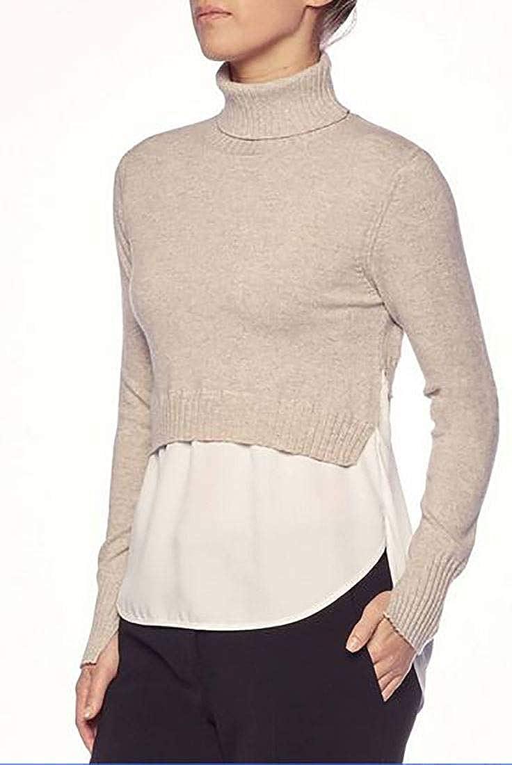 Brochu Walker Womens Luna Layered Turtleneck Sweater Bering Mel White